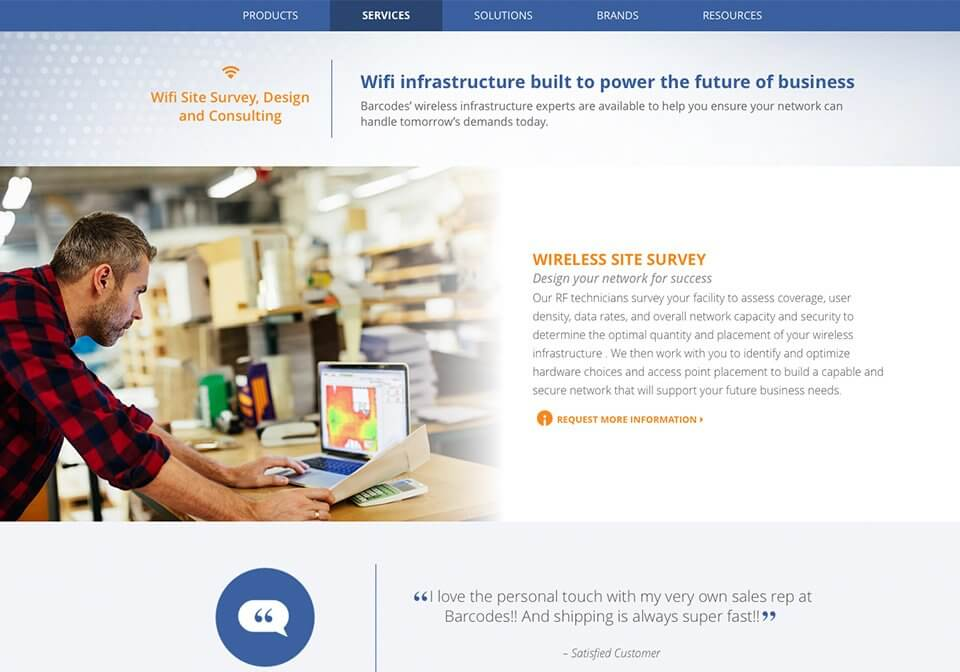 Marketing copy for Barcodes Inc's new Wifi Infrastructure web page.
