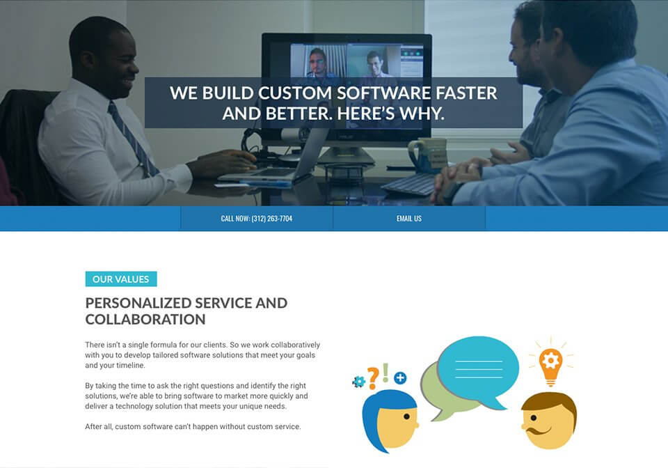 Positioning copy for CSW Solutions that highlights the company's values.