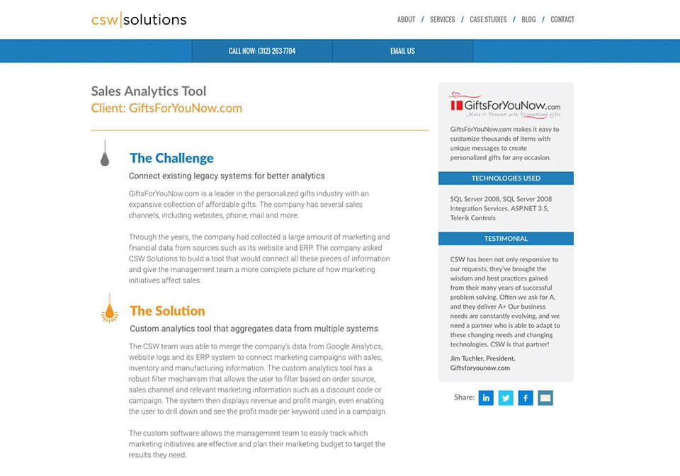 A case study written for CSW Solutions.