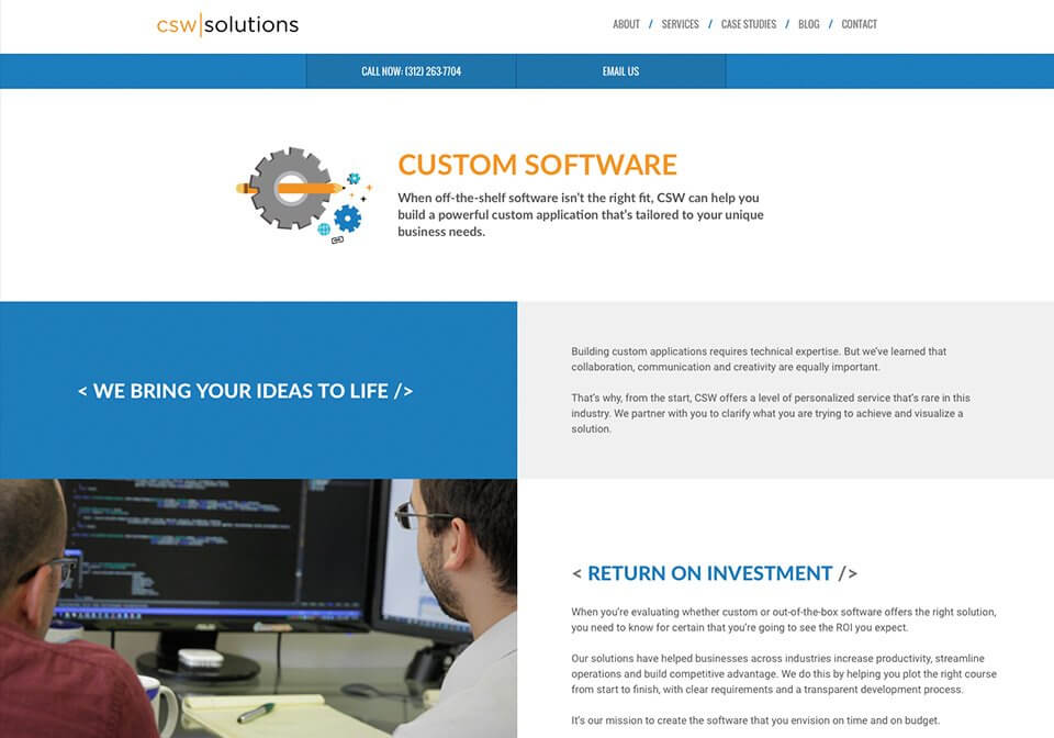 Website copywriting for the CSW Solution's Custom Software page.