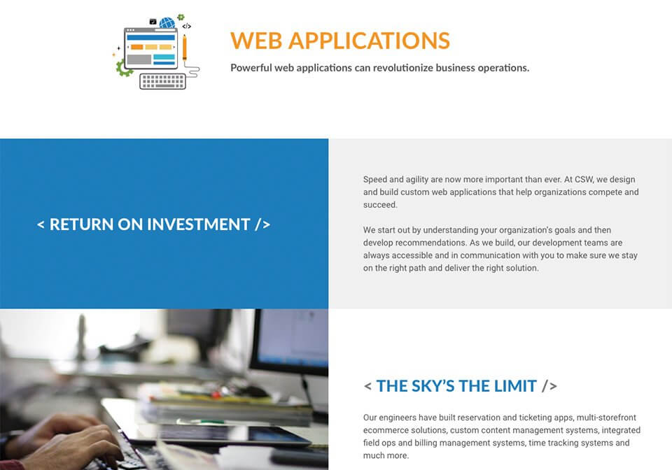 Website copywriting for the CSW Solution's Web Applications page.