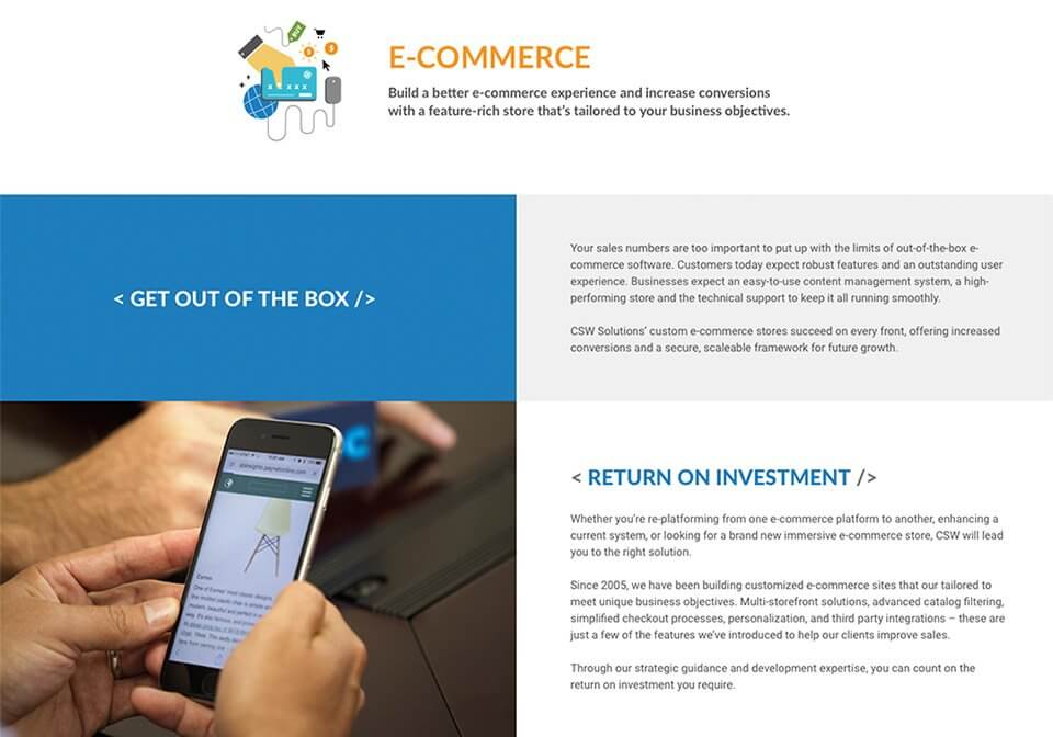 Website copywriting for the CSW Solution's E-Commerce page.