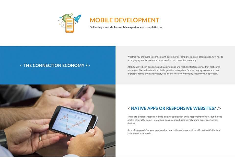 Website copywriting for the CSW Solution's Mobile Development page.