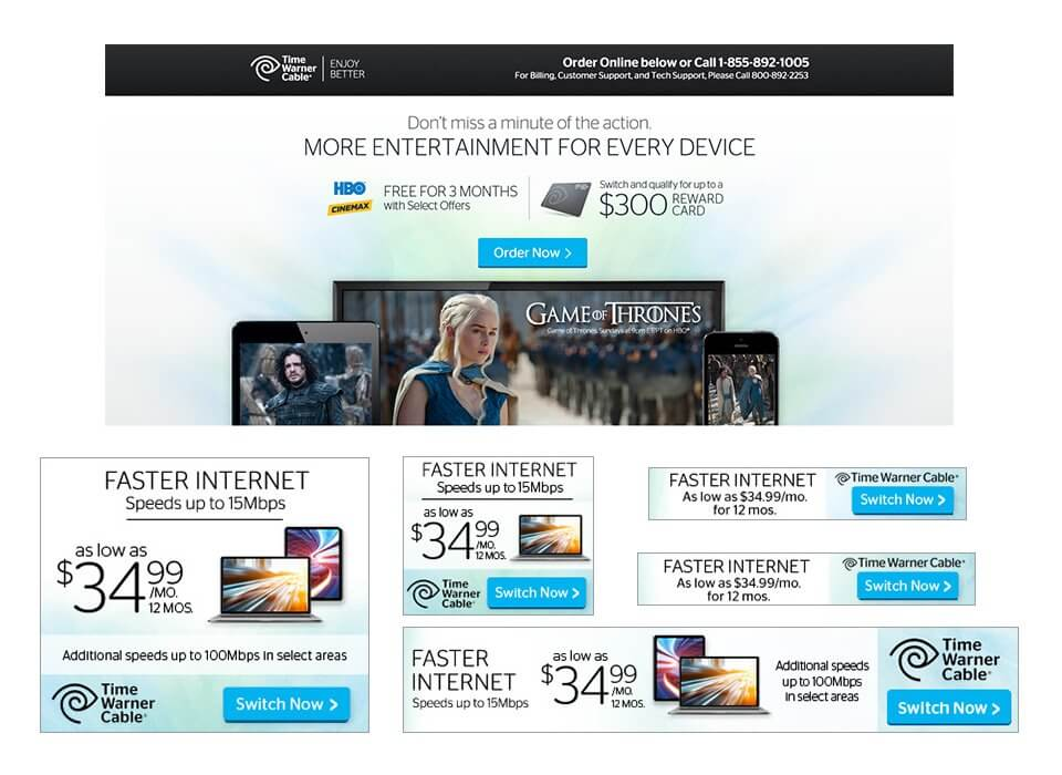 Ad and landing page copywriting for a Time Warner Cable ad campaign.