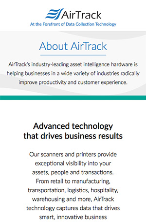 Positioning copy for the launch of the new AirTrack brand.