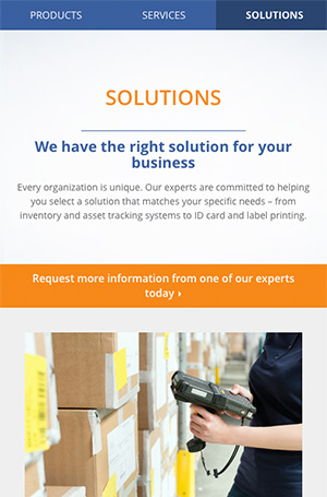 Marketing copy for Barcodes Inc's new Solutions landing page.