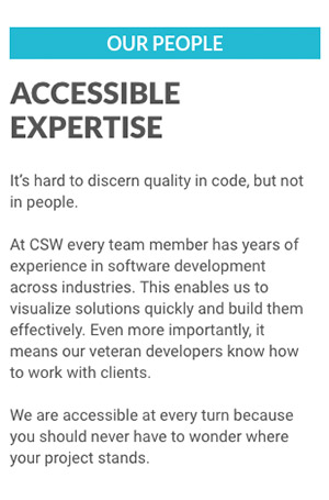 Positioning copy for CSW Solutions that highlights the company's processes and expertise.