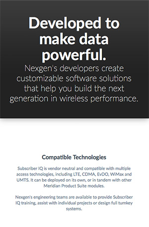 Web content created for the Nexgen Wireless website.