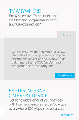 Time Warner Cable Benefits landing page copywriting promoting TV and Internet.