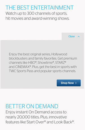Time Warner Cable Benefits landing page copywriting promoting entertainment options.