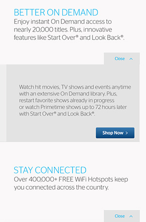 Time Warner Cable Benefits landing page copywriting promoting On Demand and WiFi Hotspots.