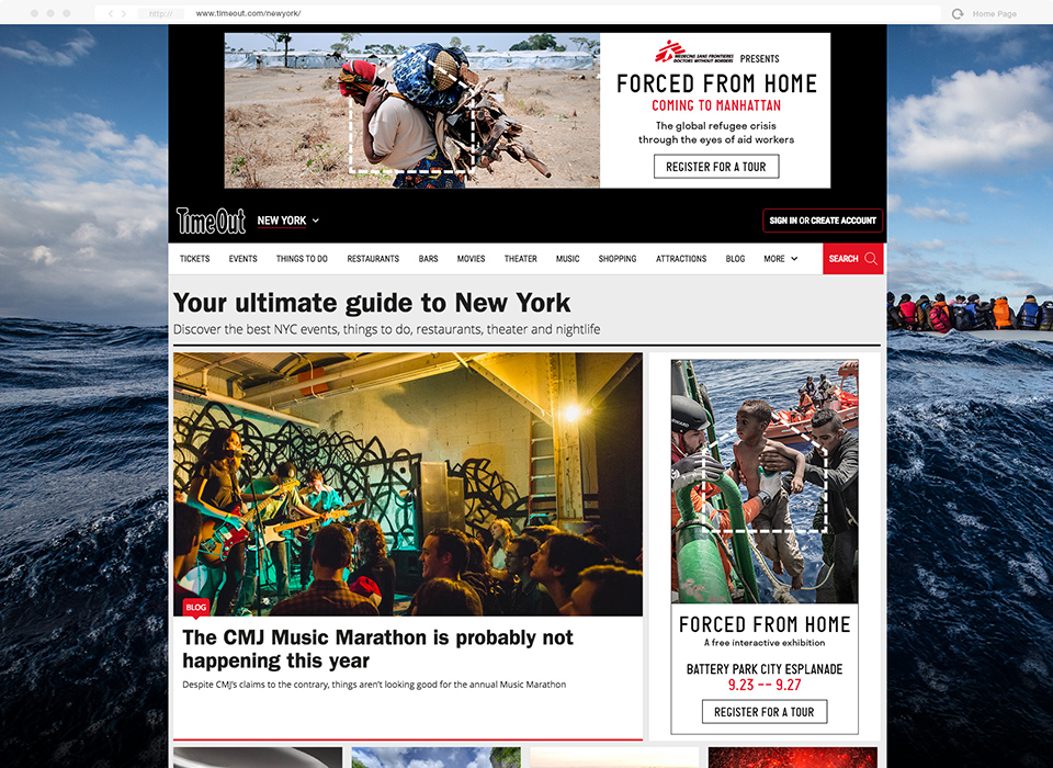 Skin and roadblock for placement on TimeOut New York created for Doctors Without Borders.