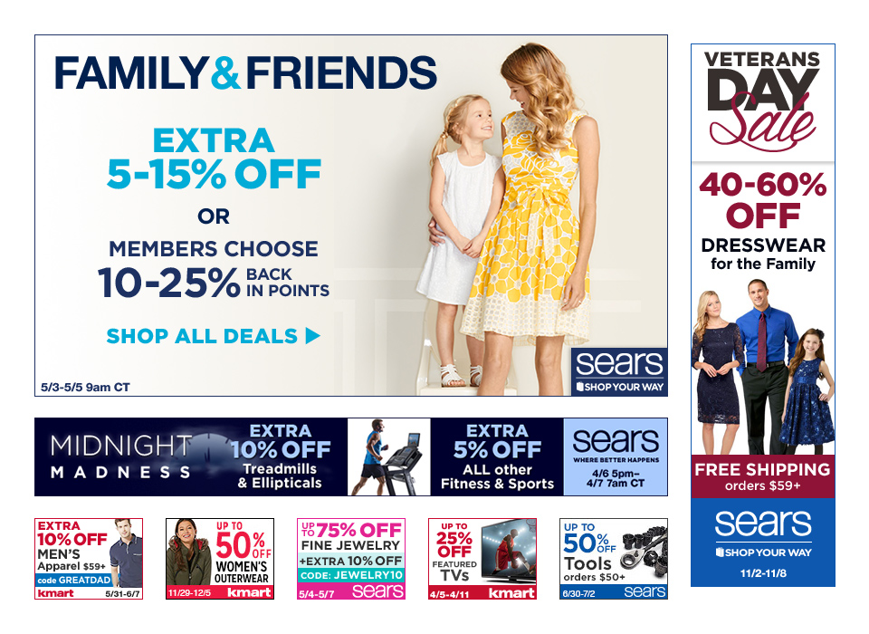 Affiliate ads produced for multiple verticals of Sears Holdings.