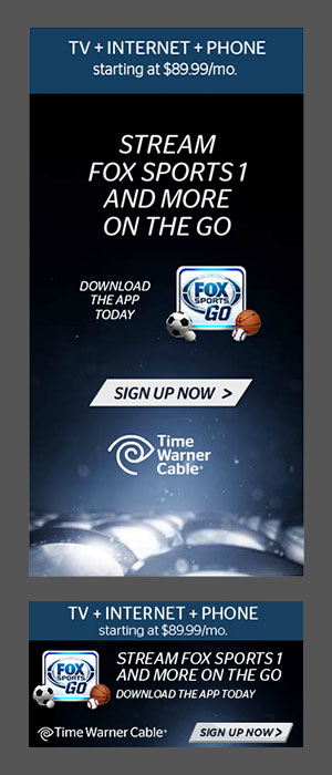 Banner ads created to promote a Fox Sports and Time Warner Cable partnership.