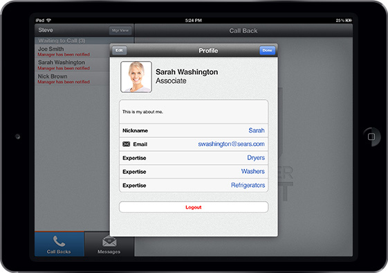 Customer Service App - User Interface