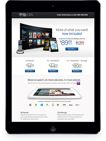 TWC Landing Page on iPad