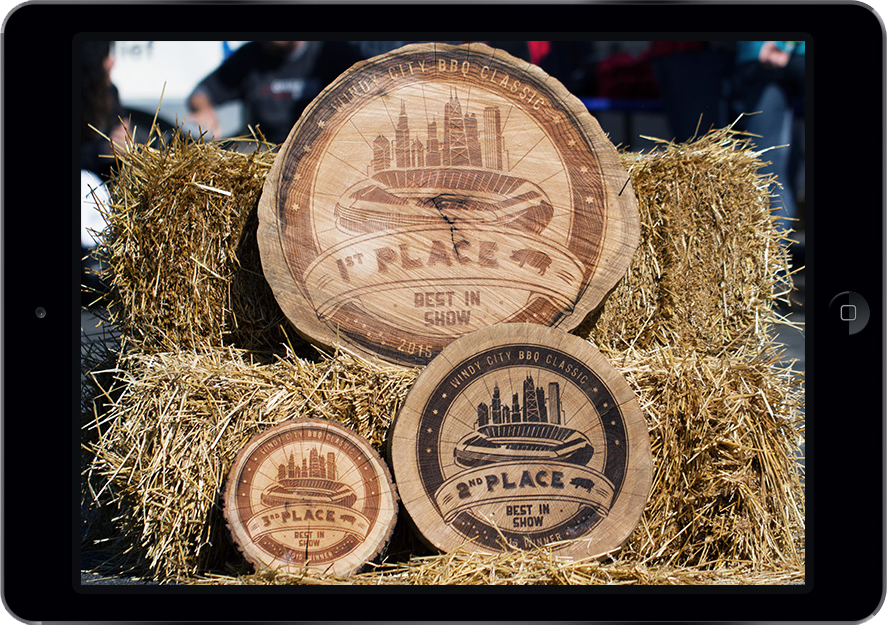 Windy City BBQ Award Branding Laser-engraved Onto Elm Rounds