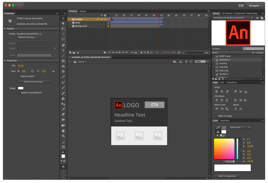 Adobe Animate CC - Tool for creating HTML5 animated ads - Interface with ad open