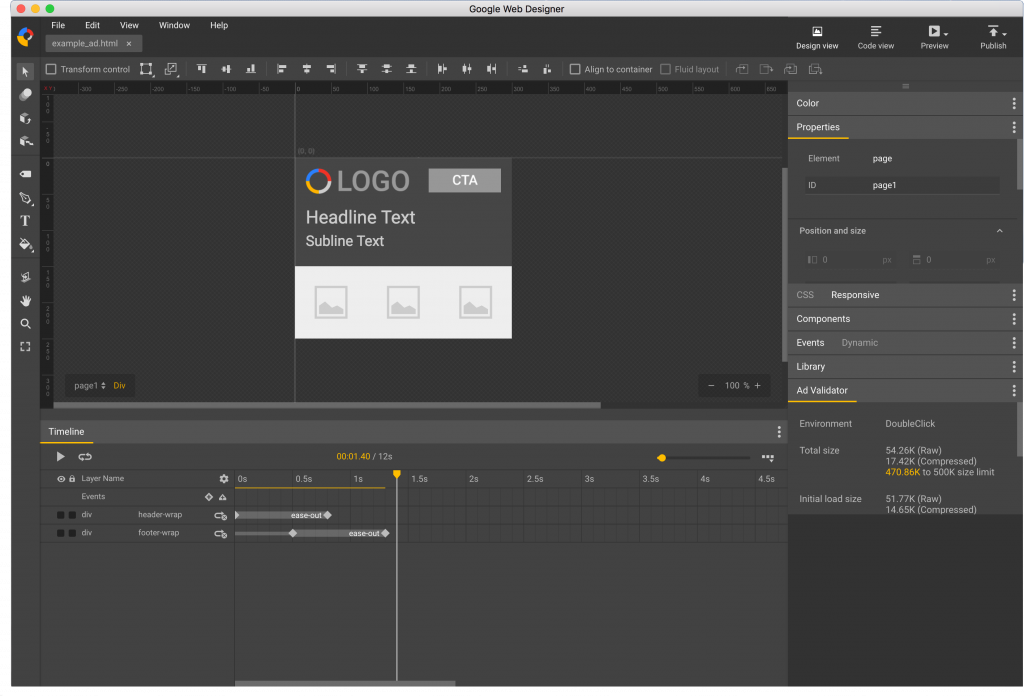 Google Web Designer - Tool for creating HTML5 animated ads - Interface with ad open